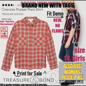 TREASURE&BOND Oversize Pocket Plaid Shirt NEW wTag
